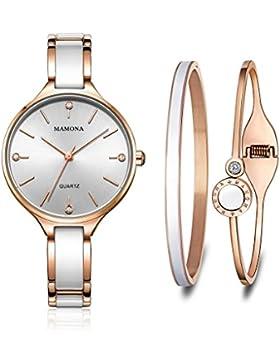 [Gesponsert]MAMONA Damen Uhr Armbanduhr Geschenk Set Kristall beschmückt Rose Gold Keramik und Edelstahl L3877RGGT