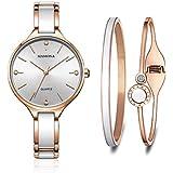 fef159669738 MAMONA Conjunto de Regalo de Reloj y Brazalete para Mujer de Acero  Inoxidable y cerámica Oro