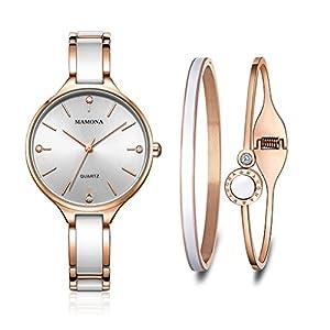MAMONA Damen Uhr Set Analog Quarz mit Edelstahl und Keramik Armband L3877GT