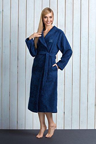 L&L Damen Bambusfasern Bademantel LL0013 Marineblau