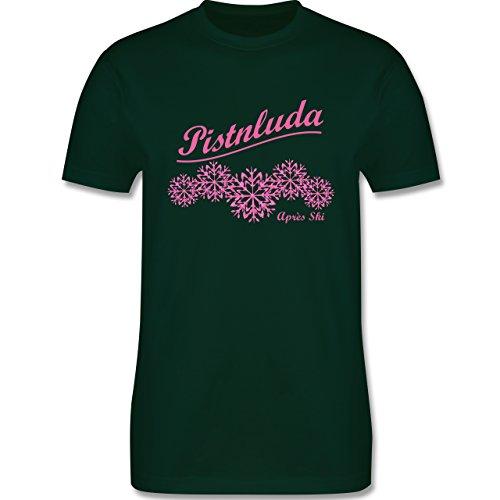 Après Ski - Pistnluda - Schneeflocke pink - Herren Premium T-Shirt Dunkelgrün