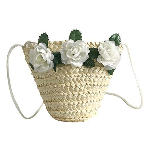 XZDCDJ Crossbody Tasche Kind UmhängeTaschen Damen Mode Blume dekorative Tasche gewebt kindertasche Süß umhängetasche Beige -