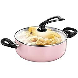 JIANSHENG Casserole, pot à soupe, pot à lait, casserole à fondue, ménage , Haute qualité , Multifonction-9,5 pouces au lave-vaisselle Va au four en toute sécurité Rose Haute qualité