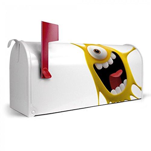 BANJADO US Mailbox | Amerikanischer Briefkasten 51x22x17cm | Letterbox Stahl weiß | mit Motiv Karl Splash, Briefkasten:mit schwarzem Standfuß