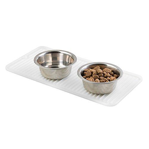 mDesign Futtermatte (klein) - transparente Napfunterlage Silikon für Hund, Katze & Co. - Bodenschutzmatte für einen großen oder zwei kleine Futternäpfe - 40,64 cm x 20,32 cm