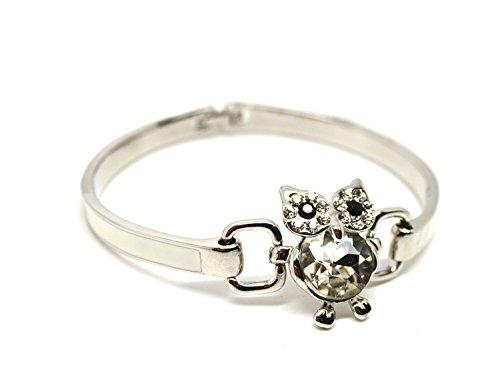 Oro bianco 18K ha placcato bello gufo di cristallo smalto braccialetto