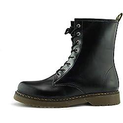 Kick Footwear - Botas Militares de Cuero Mujer, Color Negro, Talla 39