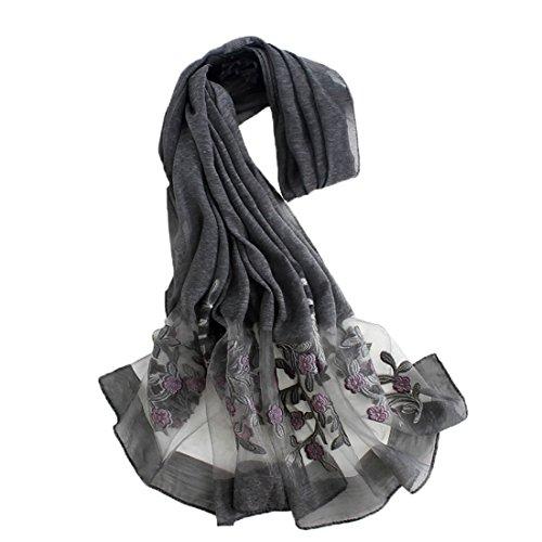Boomly moda eleganti leggero lungo scialle protezione solare scialle sciarpa in tinta unita telo mare sciarpa di organza di seta (nero)