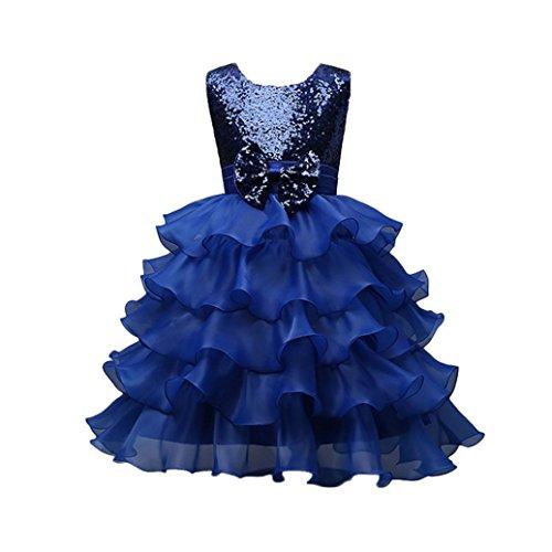 Vestito abito principessa,beauty top abito costumi vestire ragazza frozen bambina bowknot matrimonio vestito carnevale tulle diadema cosplay compleanno belle disney (blu, 4-5 anni)