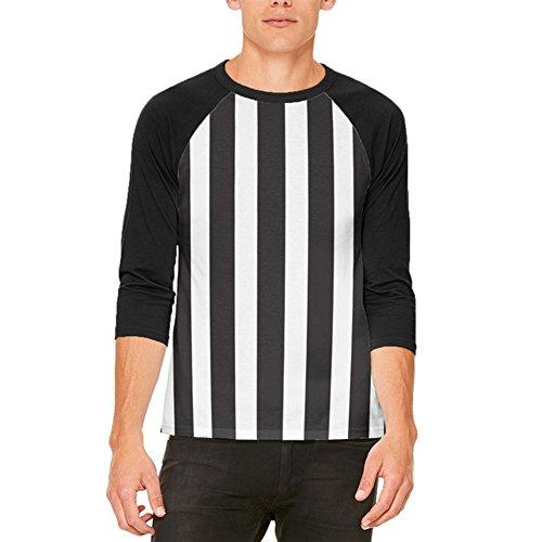 Old Glory Halloween Schiedsrichter Kostüm Herren Raglan T Shirt weiß-schwarz ()