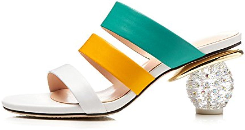 Verano Sandalias Y Zapatillas De Cuero con Estilo Diamantes De Imitación Y Zapatos Arco Iris Moda Zapatos De Mujer