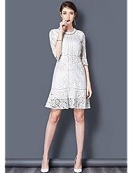 2017 nueva trompeta manga vestido de encaje blanco hembra temperamento damas falda falda de cola de pez blanco de falda de hadas de verano,XL