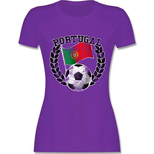 EM 2016 - Frankreich - Portugal Flagge & Fußball Vintage - tailliertes  Premium T-Shirt
