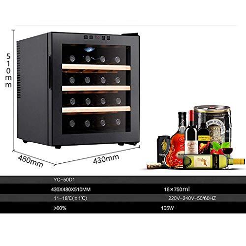 LYB Thermoelektrischer Weinschrank mit 16 Flaschen - Rot- und Weißweinschrank - Aufsatz-Weinschrank - Freistehender Kühlschrank mit LCD-Digitalanzeige £¬ Trinkutensilien/Regal aus Edel -