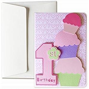 My first birthday – baby girl - Grußkarte mit Umschlag (15 x 10,5 cm) - handgemachte Karte - freier Raum nach innen