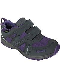 Treksta - Jr Velcro Low. Calzado para uso casual y marchas al aire libre (color Gris/Lavender, tecnología ICELOCK)