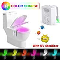 Toilet Light Inside Toilet - Rantizon Upgraded Motion Activated Toilet Seat Light with Function of Aromatherapy and UV Sterilizer, Sensor LED Washroom Night Light, 16 Colors Waterproof
