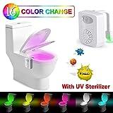 Toilette Licht -Rantizon LED Toilette Nachtlicht mit UV-Desinfektion Licht, WC Licht mit Bewegungsmelder und Wasserdicht, 16 Farbe Veränderung und 2 Aromatherapie Stück, Nicht Batterien
