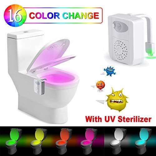 Luz WC-Rantizon Wc Luz Nocturna Luz de Desinfección UV, con Detección de Movimiento del Sensor Automático...
