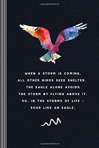 When A Storm Is Coming: Inspirational Journal - Blank Graph Paper 5x5 Grid Composition Notebook - Flying Eagle Watercolor Art Quote Book Diary - Karo-notebooks