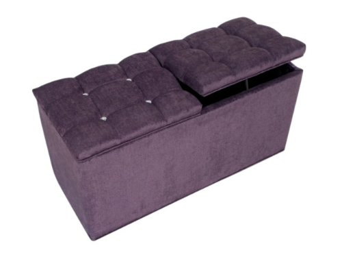 storage-ottoman-pouffe-seat-stool-box-in-purple-chenille-twin-lid-with-diamante-crystals