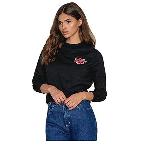 Femme Chemisier, Feixiang Mode Femme col rond rétro classique brodée à manches longues TOPS Chemisier Shirt décontracté T-shirt, plastique, noir,