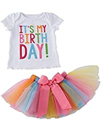 Arrowhunt Little Girls Birthday T-shirt Rainbow Mesh Tutu Skirt 2 Peices Clothing set
