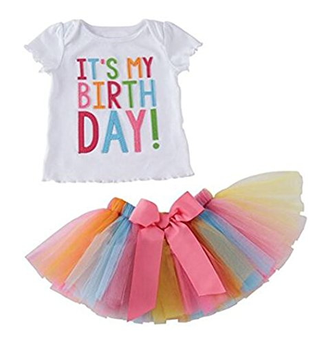 Arrowhunt Little Girls Birthday T-shirt Rainbow Mesh Tutu Skirt 2 Peices Clothing set