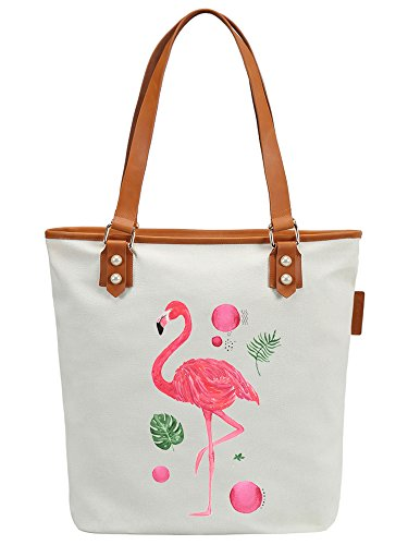 S.CHU Women's Flamingo Tropic Canvas Leather Tote Handbag Ladies Shoulder Bag Weiß