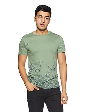 People Men's Printed Regular Fit T-Shirt (P1C109318TTO424_Green_Large)