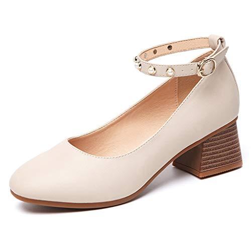 Damenschuhe, Pearl Shallow Mouth Square Head Single-Schuhe mit Einer Schnalle mit Einer Dicke mit großen Damenschuhen,A,38