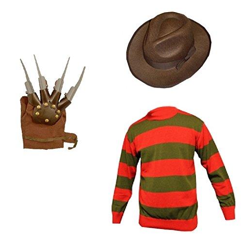Jungen Krueger Freddy Kostüm (Unisex Kinder Jungen Mädchen Freddy Krueger Halloween Fancy Kleid INC Hut und Jumper Set Alter 7/89/1011/12 Gr. 7-8 Jahre,  - FREDDY)