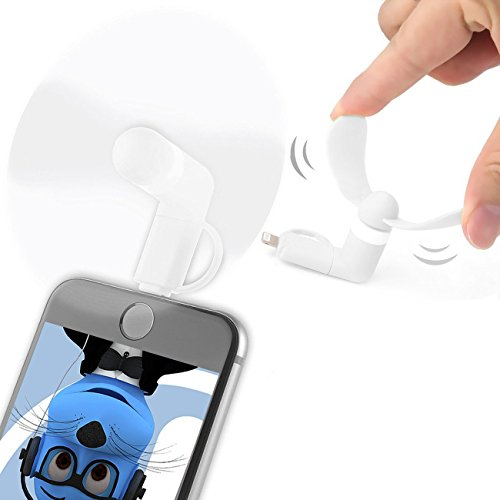 Weiß Selfie Taschenformat Mini Lüfter Zubehör mit 2 in 1 Stecker Micro USB und IOS Für HTC P6300