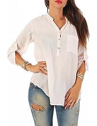 Zarmexx Feine Viskosebluse Hemdbluse Langarm - Fischerhemd Regular Fit  Leichte Bluse Tunika Sternchen-Muster One 78c4641f7d