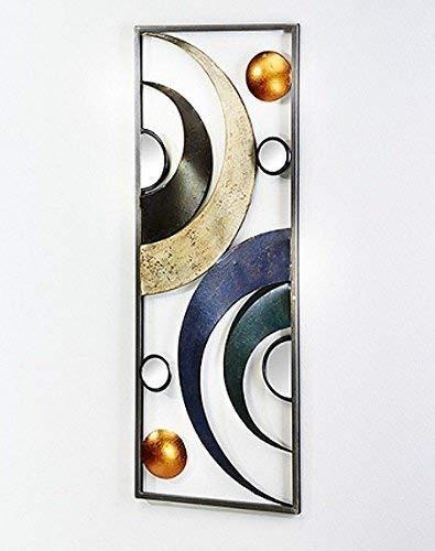 Moderno quadro su tela con semicerchi in metallo dipinto a mano, moderno decorazione parete