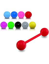 Anneaux Piercing pour Langue Barbell droit flexible avec Boule UV couleur solide Lot de 10 pièces couleurs assorties