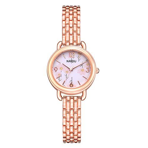 Preisvergleich Produktbild Tohole damenuhr Frauen Edelstahlarmband Band Analog Quarz Runde Armbanduhr Uhren Legierungs Quarz Uhr der Frauen 1 Uhr + 2 Armbänder(J, One size)