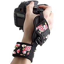 Empuñadura de Muñeca correa de Mano para Cámara de fotos Réflex por USA GEAR como Canon,Nikon,Sony,Pentax y muchas más.Diseño con Flores