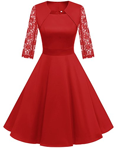 Homrain Damen 50er Vintage Retro Kleid Party Langarm Rockabilly Cocktail Abendkleider Red-1 3XL