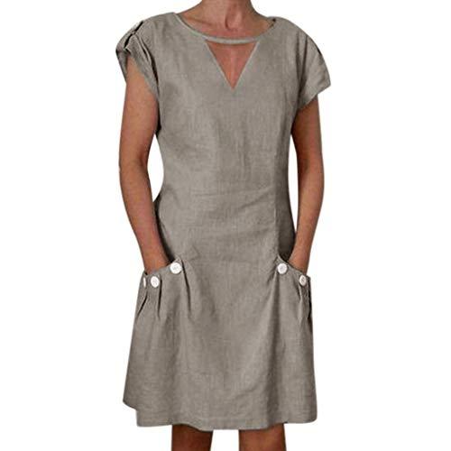 Go First Frauen Sommer Kleid Damen Plus Size Kleid T-Shirt Baumwolle und Leinen Kleid Casual Short Sleeve Midi Kleid (Color : Khaki-2, Size : Small) - Short Sleeve Striped Khaki