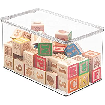 Rangement Chambre Enfant Transparent Rangement Jouet avec Couvercle pour des Jouets rang/és sur Une /étag/ère ou sous Le lit Lot de 2 MetroDecor mDesign Bac /à Jouet