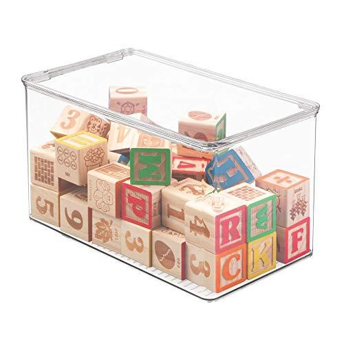 mDesign Spielzeugaufbewahrung - Aufbewahrungsbox mit Deckel zum Spielsachen verstauen im Regal oder unter dem Bett - transparent