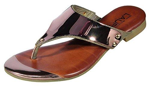 Passerelle Munich–Sandales Femme Pantolette Vernis, TR-sohlefs141405or Or - Bronze