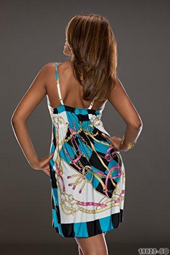 4360 Fashion4Young mini robe à bretelles pour femme avec col v profond robe verfüg.in 5 coloris disponibles taille 34/36 - Blau Multicolor