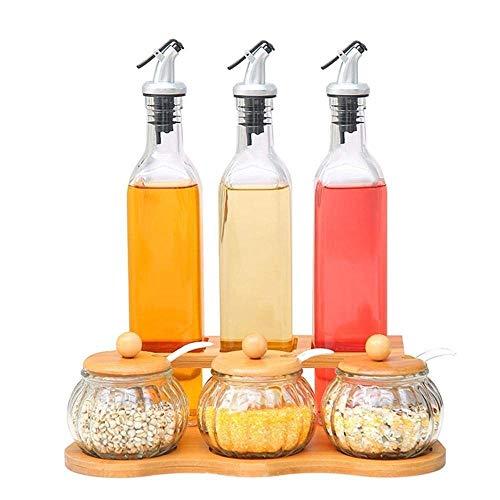 Marceooselm Juego de Cruet para Botellas de Aceite de Vidrio sin Plomo para Cocina, Botella de Aceite antirreflujo, dispensador de Aceite de Oliva, Tanque de Almacenamiento de condimento para Cocina