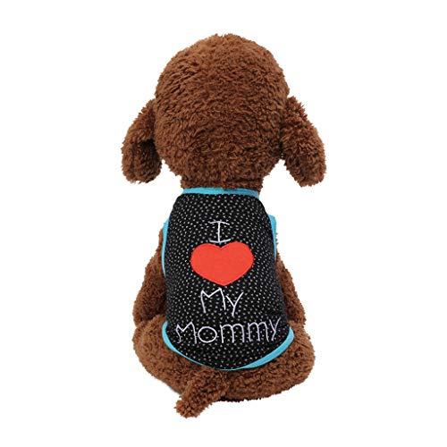 Hawkimin 2019 Mode Niedlichen Haustier Frühling Und Sommer Atmungsaktiv Kleine Ich Liebe Mein Papa Mama Brief Drucken Weste Hund Katze ()