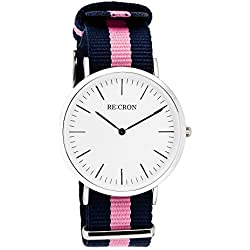 "RE:CRON women watch stainless steel 36 mm 1.42"" with textile wristband nylon maritime dark blue and pink"