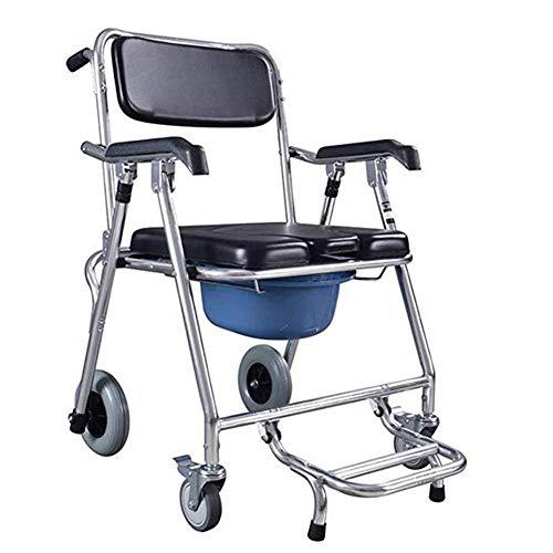 JFW-Multiple Function Kommode Rollstuhl Nacht WC-Sitz Tragbare Falten Bad Dusche Transport Stuhl Abnehmbarer Eimer mit Verriegelung vor Rollen und Beinstütze -