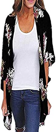 Dubocu Women's Chiffon Shawl Print Kimono Cardigan Top Cover Up Blouse Beach