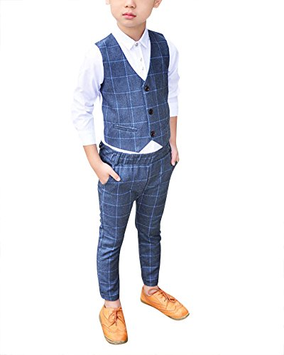 DianShao Jungen 3 Stück Formal Anzug Kinder Gentleman Weste + Blazer + Hosen Grau 120